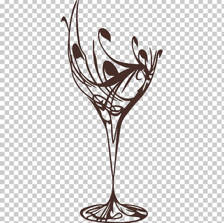 Wine Glass Wall Decal PNG, Clipart, Black And White, Bottle.