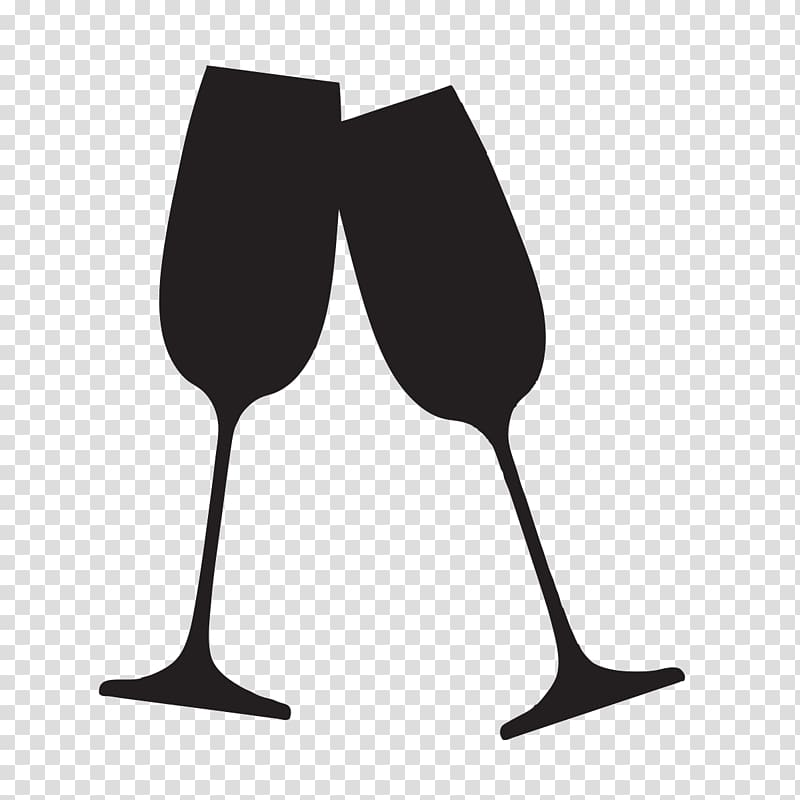 Two black flute glasses illustration, Champagne glass.