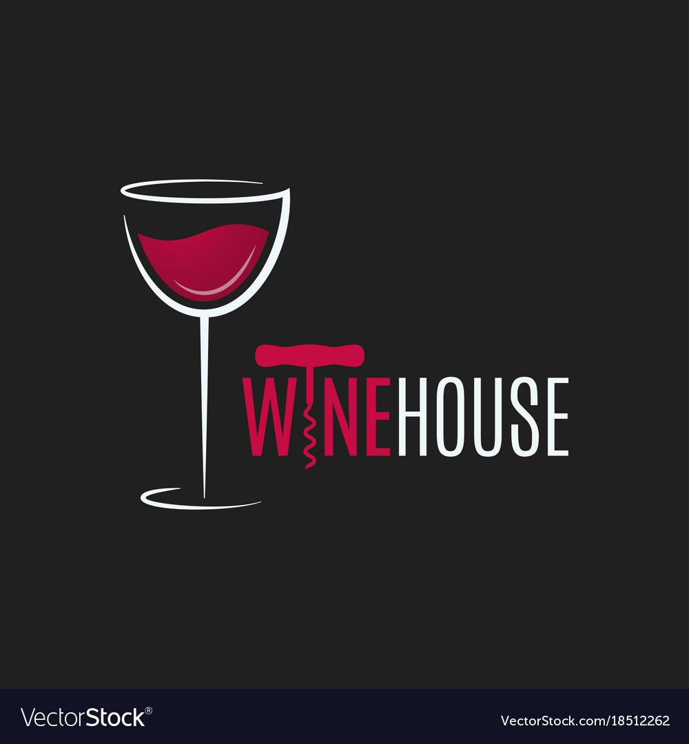 Wine glass logo design red and white wine house.