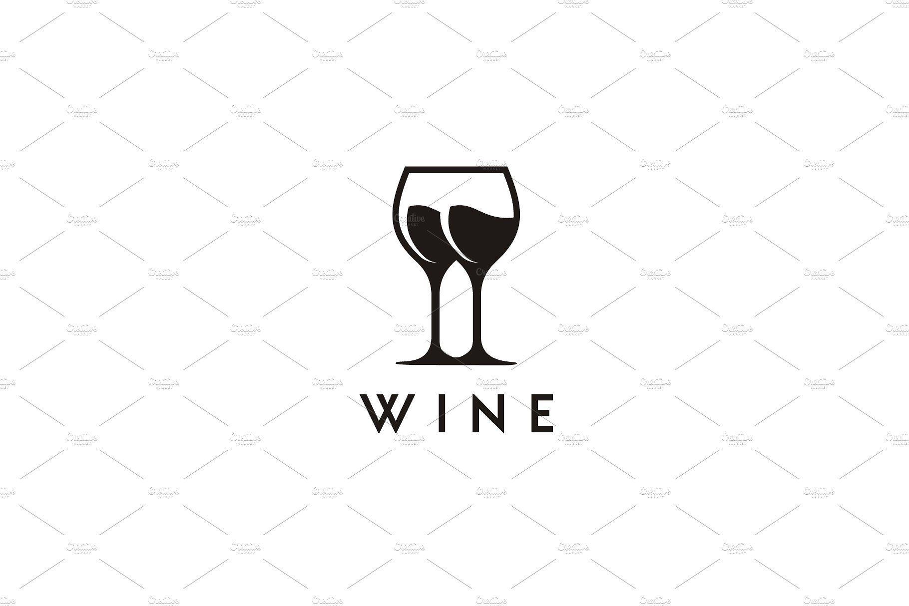 Black Wine glass symbol logo design #logo #design #wine.