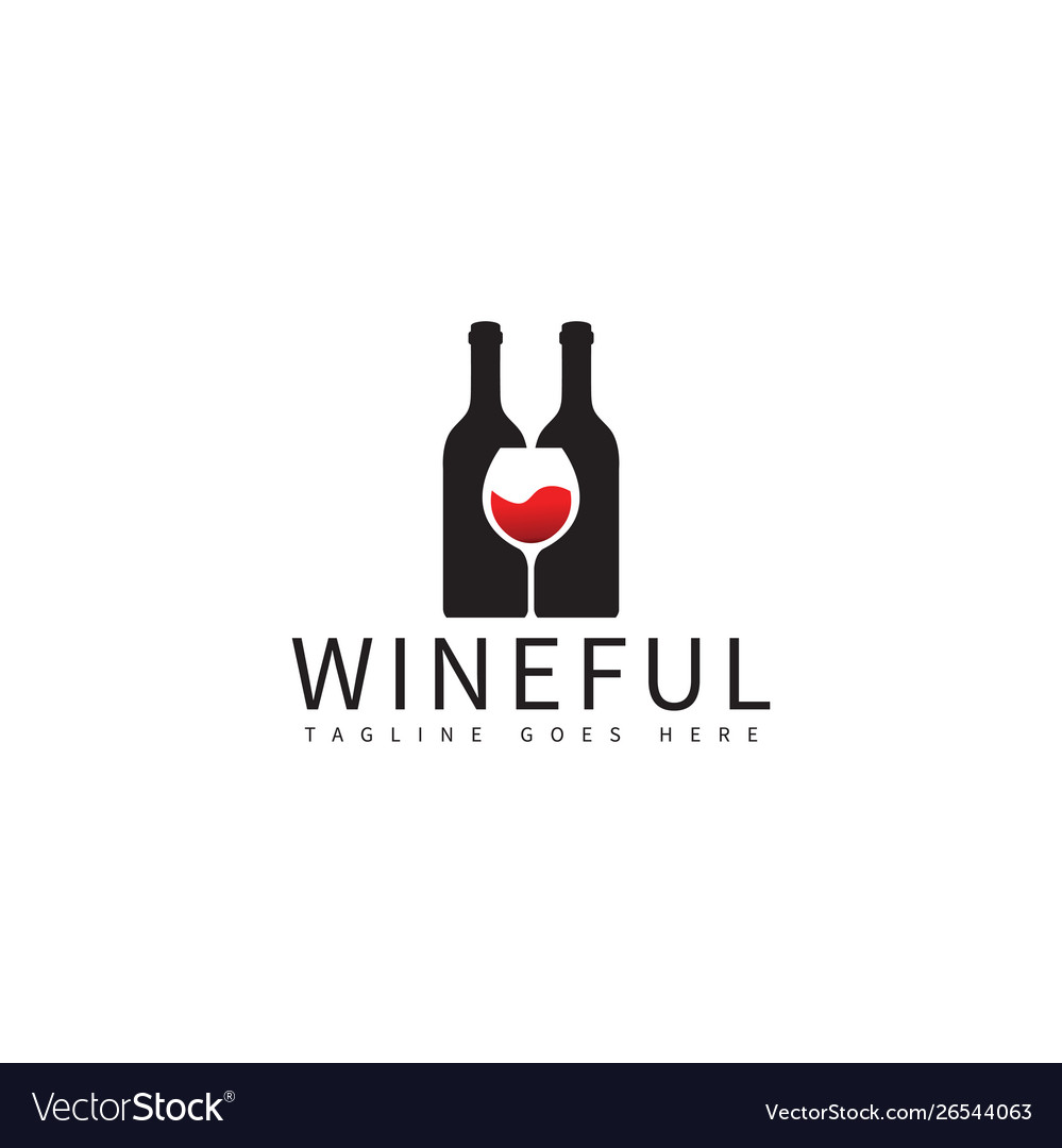 Wine bottle and glass logo design template.