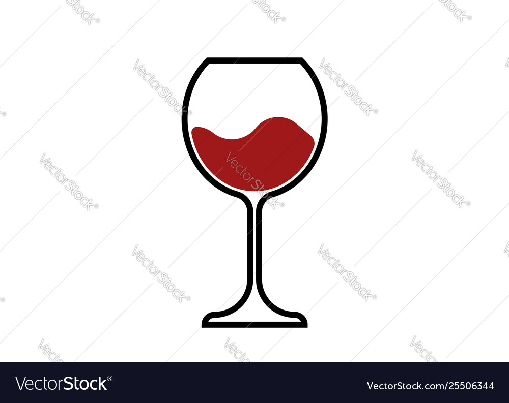 Red wine glass icon wineglass logo glassware.