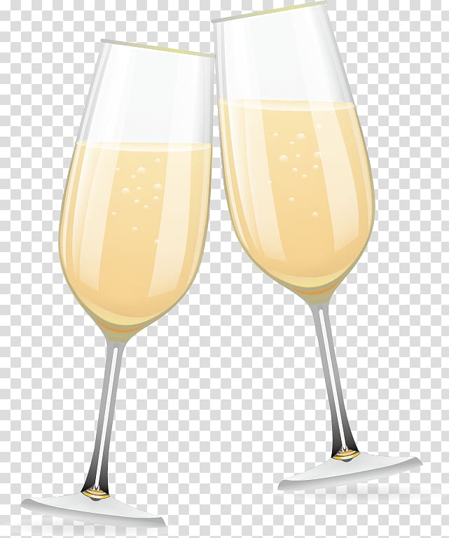 Two clear pinking wine glasses , Champagne glass Bellini.