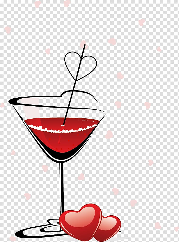 Red Wine Cocktail Wine glass, painted cocktail transparent.