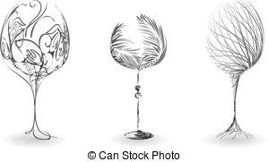 Elegant stylized wineglass. Elegant stylized glass of wine.