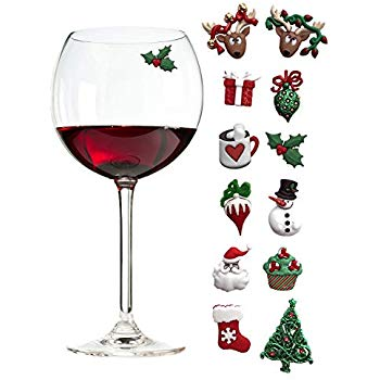 Christmas Holiday Magnetic Wine Glass Charms & Cocktail Markers Set of 12.