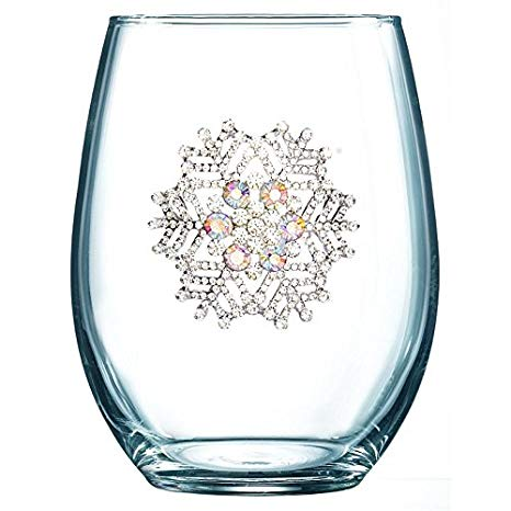 THE QUEENS\' JEWELS Snowflake Jeweled Stemless Wine Glass.