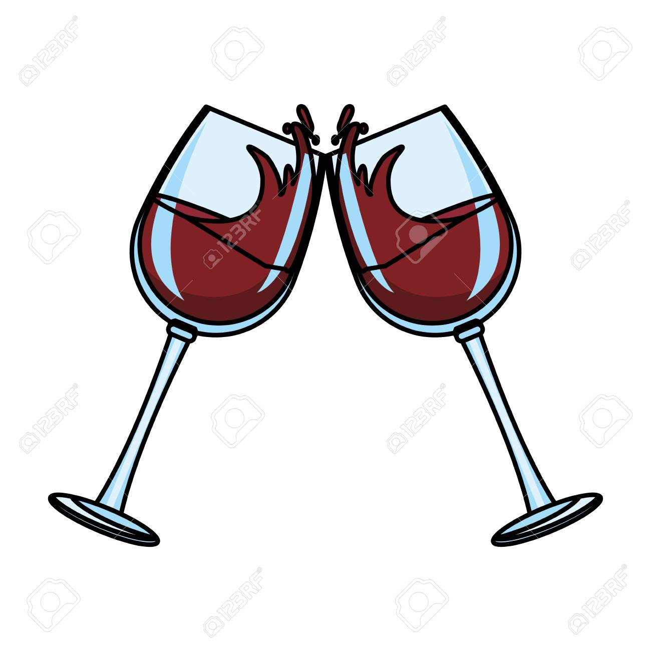 Wine glass toast vector illustration graphic design.