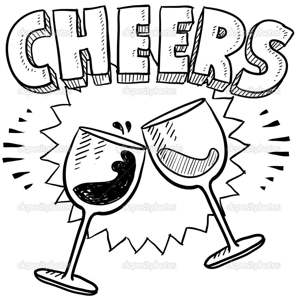 Cheers wine glass toast sketch — Stock Vector © lhfgraphics.