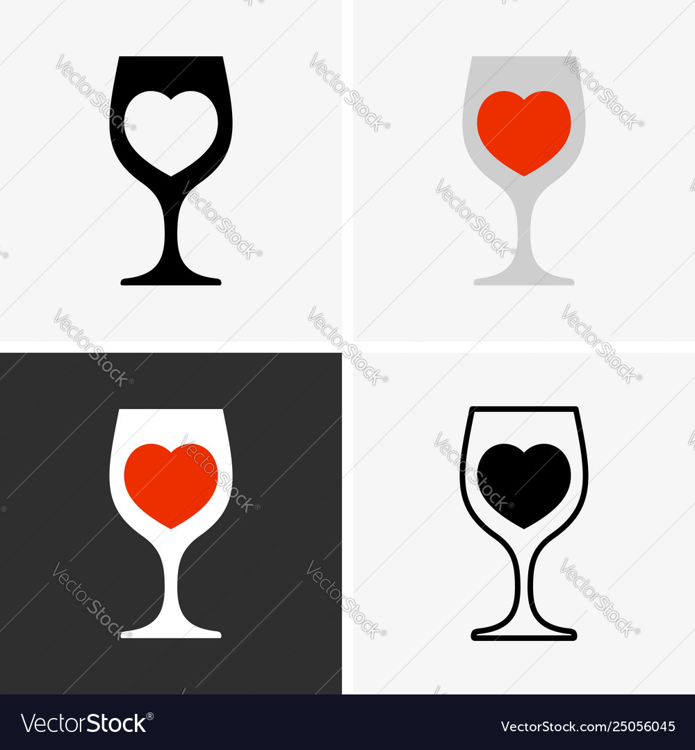 Wine glasses with heart sign.