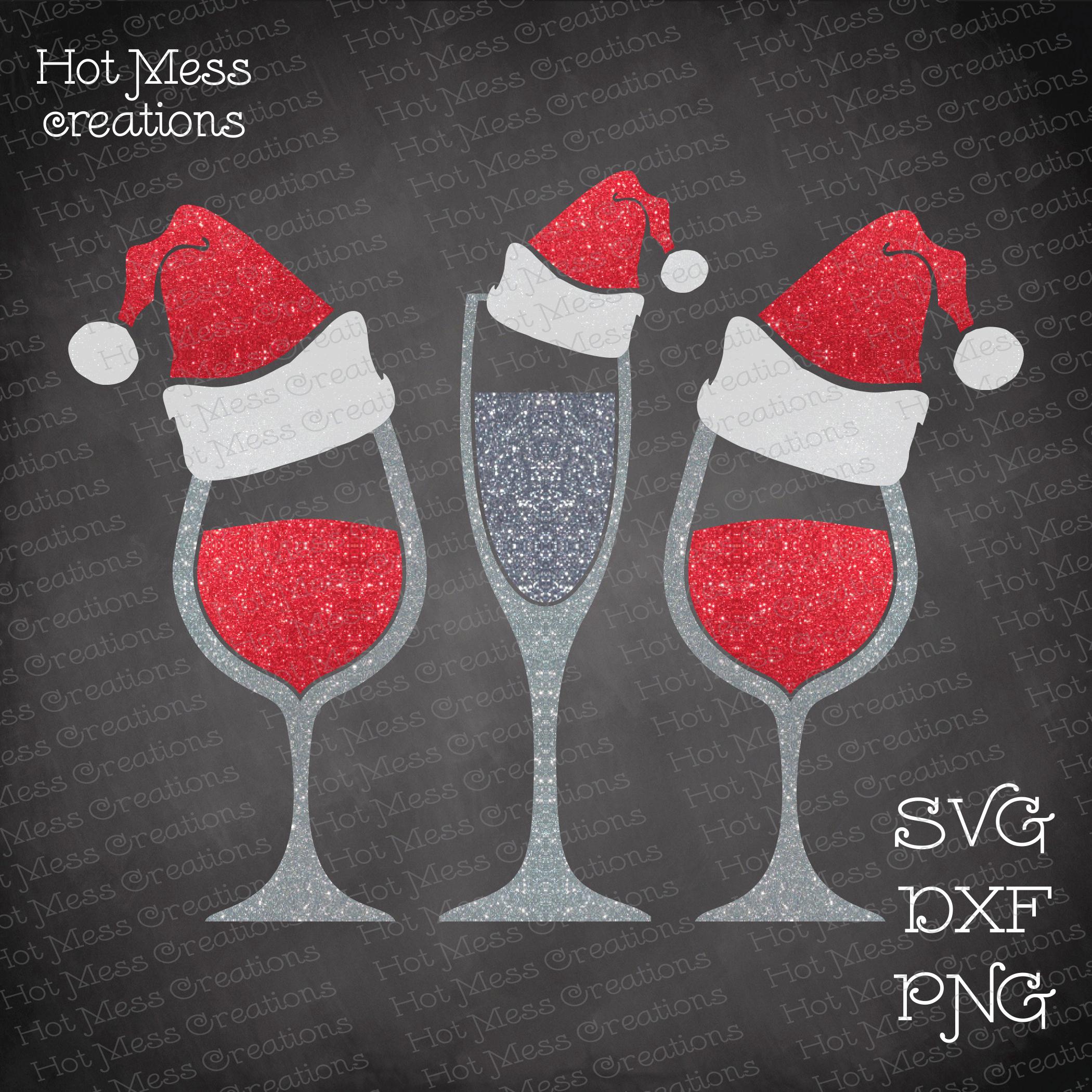 Santa Hat Wine Glasses SVG DXF EPS PNG.