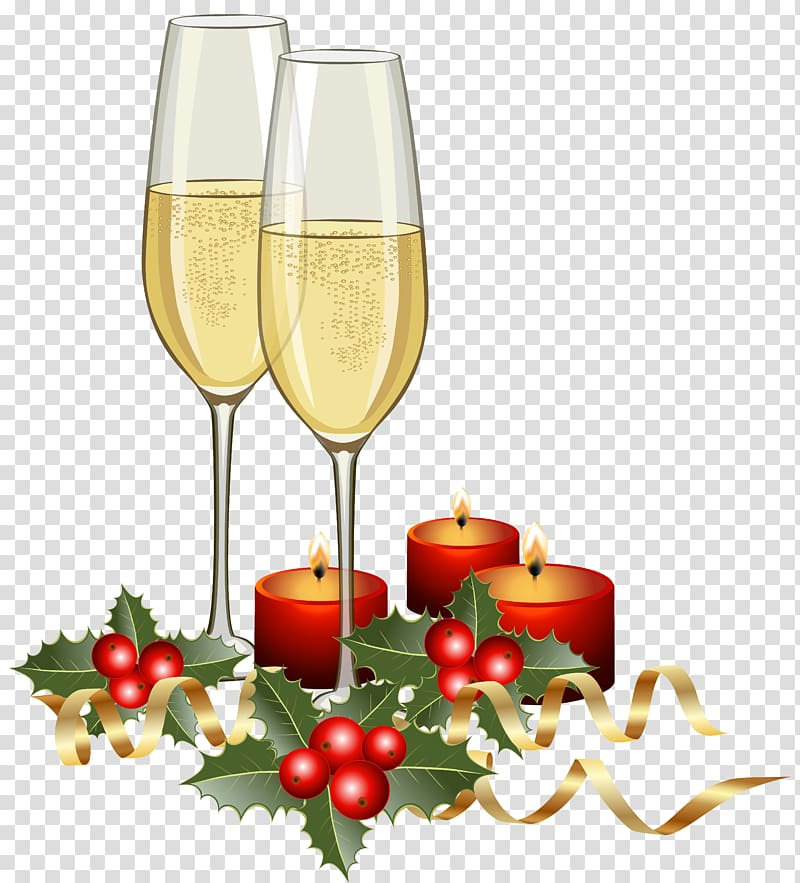 Two champagne glasses illustration, Champagne Christmas.