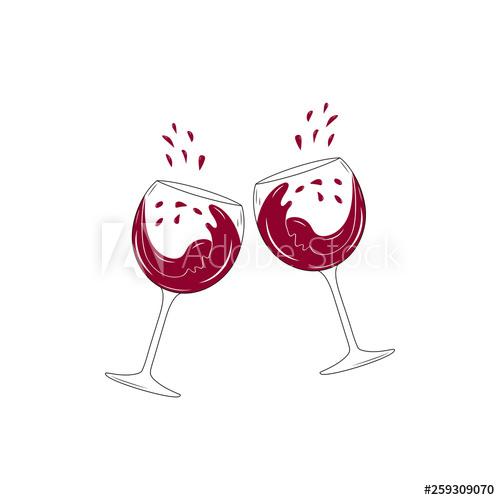 Two clinking wine glasses with splashing cabernet.