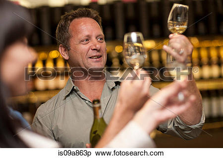 Stock Image of Wine tasting at wine growers shop is09a863p.
