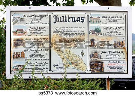 Stock Photo of WINE GROWERS LOCATOR MAP JULIENAS BEAUJOLAIS WINE.