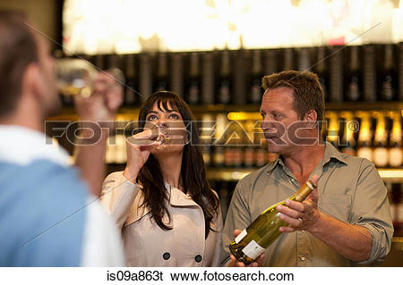 Stock Images of Wine tasting at wine growers shop is09a863t.