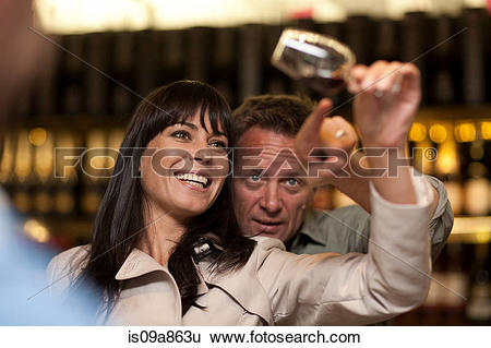 Stock Images of Wine tasting at wine growers shop is09a863u.