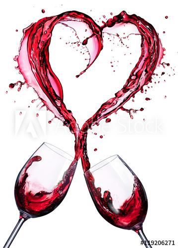 Romantic Toast Of Wine Red In Splashing In A Heart Shape.