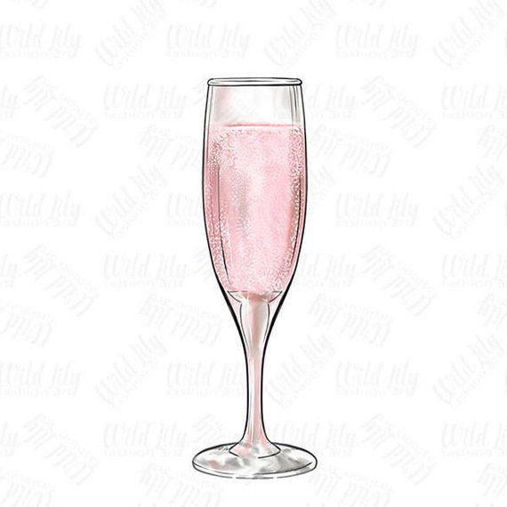 CHAMPAGNE GLASS CLIPART, pink champagne glass clip art.