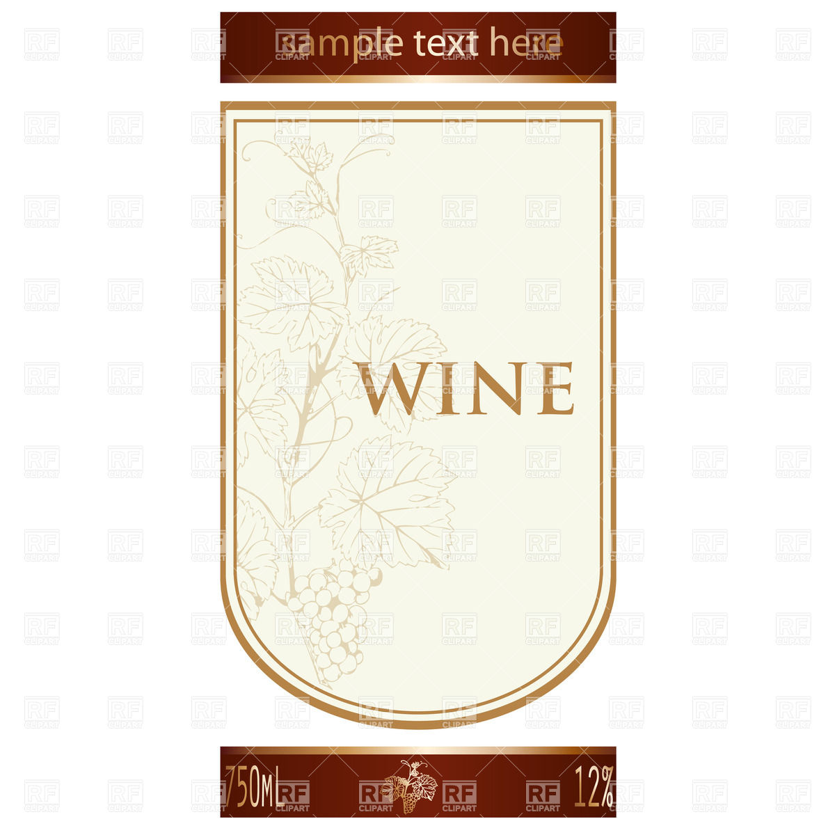 Template of wine label with vine and bunch of grapes Stock Vector Image.