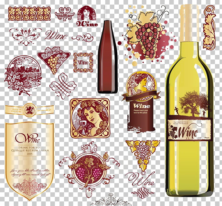 Wine label Euclidean Bottle, Red grape buckle Free Graphics.