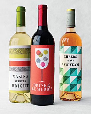 Free printable Holiday Wine Label Clip Art.