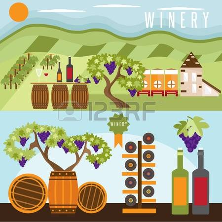 526 Winery Landscape Stock Vector Illustration And Royalty Free.