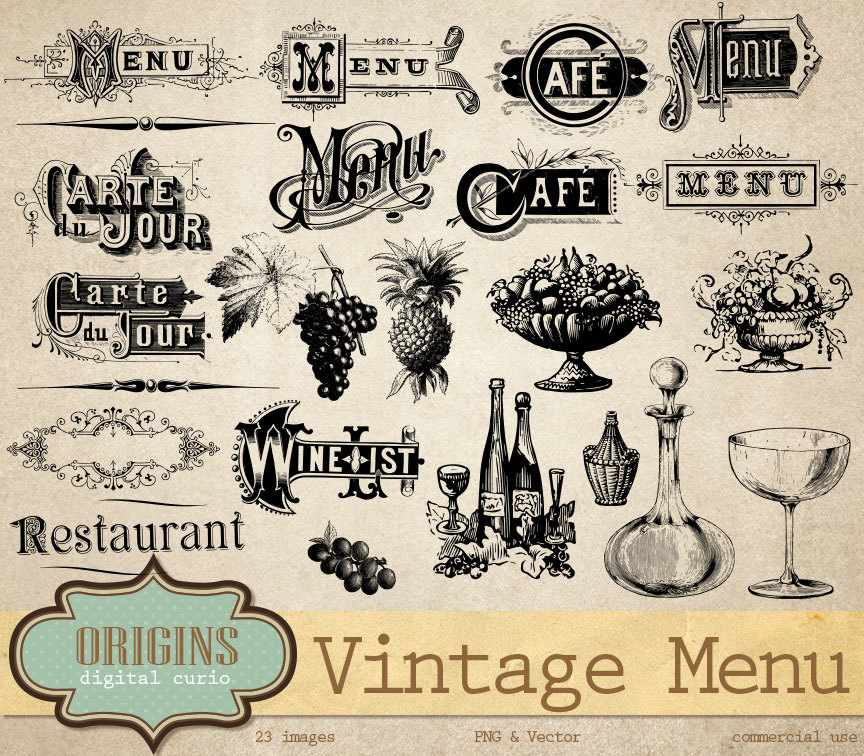 Vintage Menu Vectors Clipart Wine List Typography Antique.