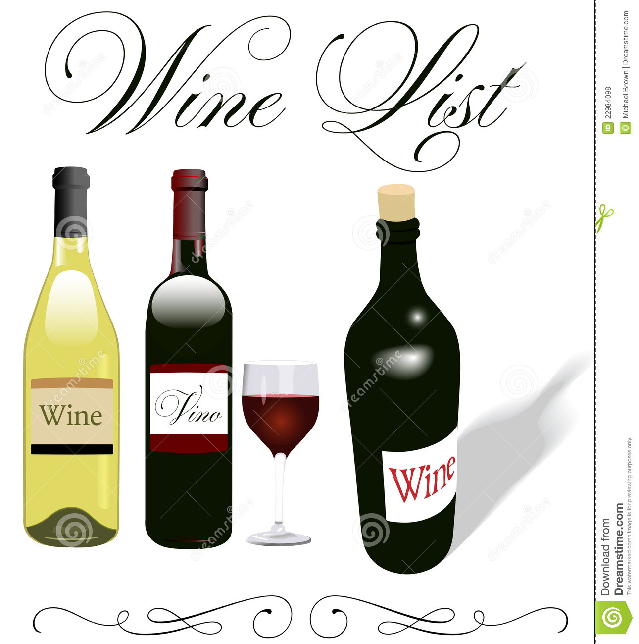 Wine List Menu Bottles Glass Design Royalty Free Stock Photos.