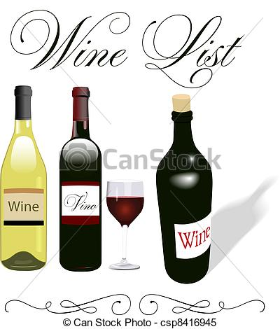 Clipart Vector of Wine list menu bottles glass design.