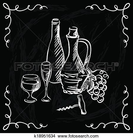 Clipart of Restaurant or bar wine list on chalkboard background.