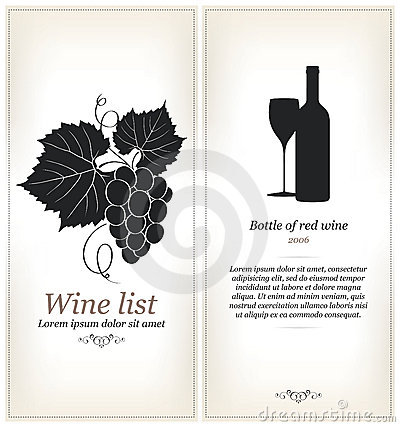 Elegant Wine List Concept Stock Illustrations.