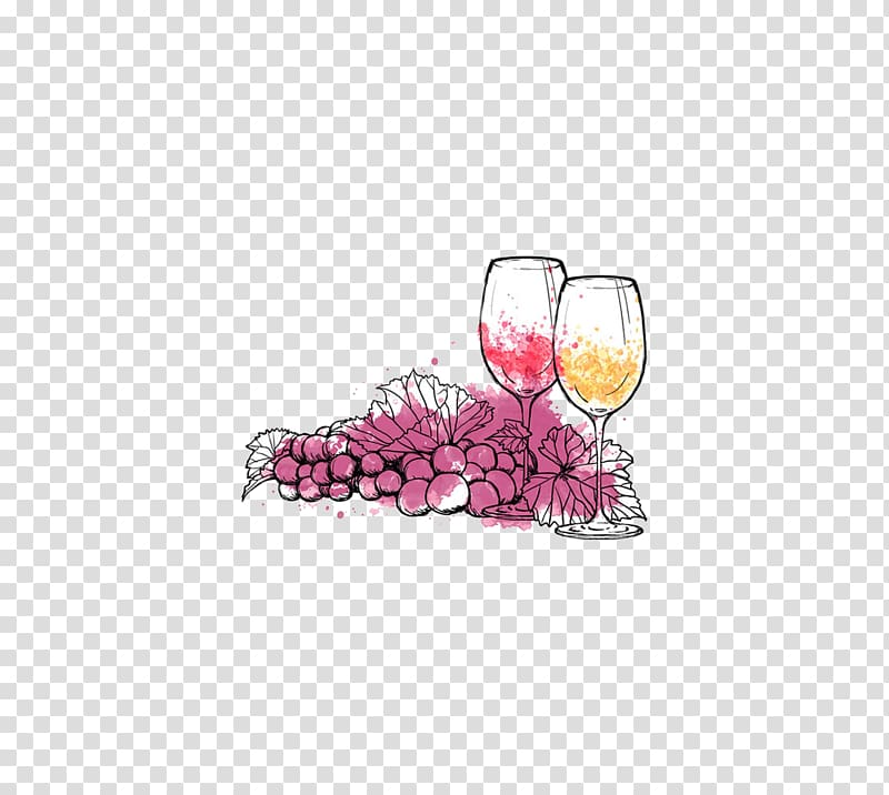 Two wine glasses illustration, Red Wine Sparkling wine Wine.