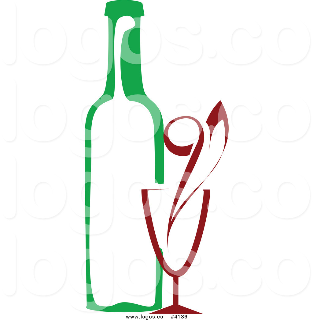 Royalty Free Red Wine Glass and Green Bottle Logo by Vector.