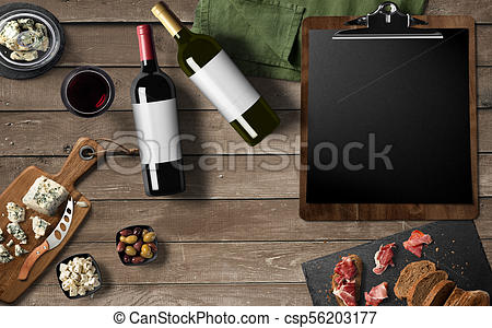 Restaurant menu design, Red wine, White wine, cheese camembert, prosciutto  meat on old wooden background. Appetizer, gourmet..