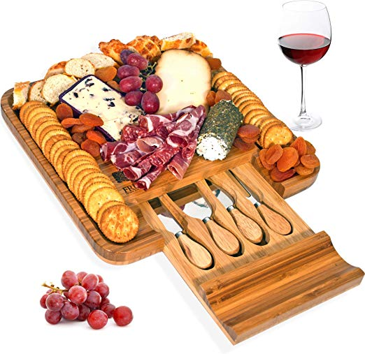 Bamboo Cheese Board and Knife Set, Wood Charcuterie Platter and Serving  Meat & Cheese Board with Slide.