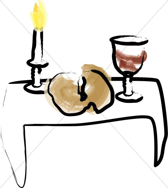 Watercolor Candle with Bread and Wine.