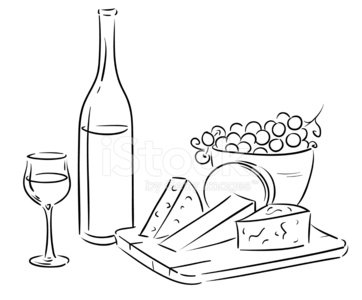 outline wine table Clipart Image.