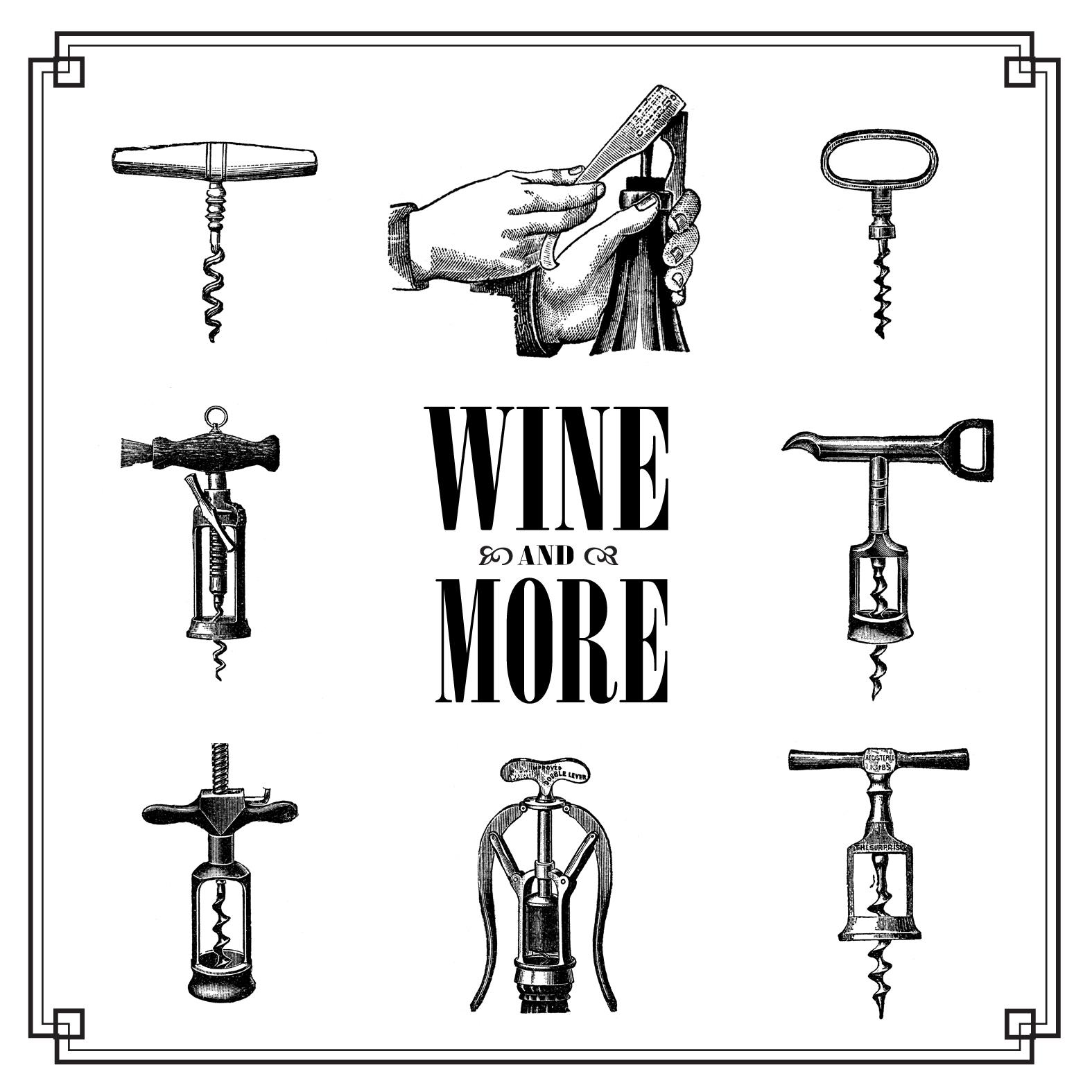 Free vintage clip art images: Vintage corkscrew wine openers.