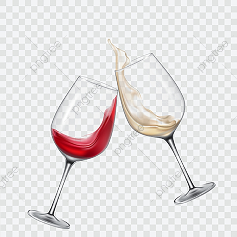 Set Transparent Glasses With White And Red Wine, Wine, Glass, Set.
