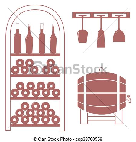 Stylized icon of a colored wine rack, bottles of wine, wine glasses and  barrel of wine on a white background.