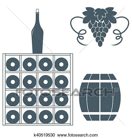 Stylized icon of a colored wine rack, bottles of wine, bunch of grapes and  barrel of wine Clipart.