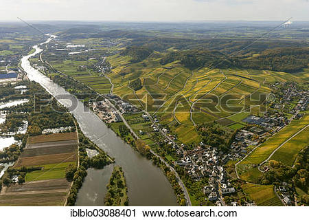 "Stock Photography of ""Aerial view, Moselle wine region, Moselle."