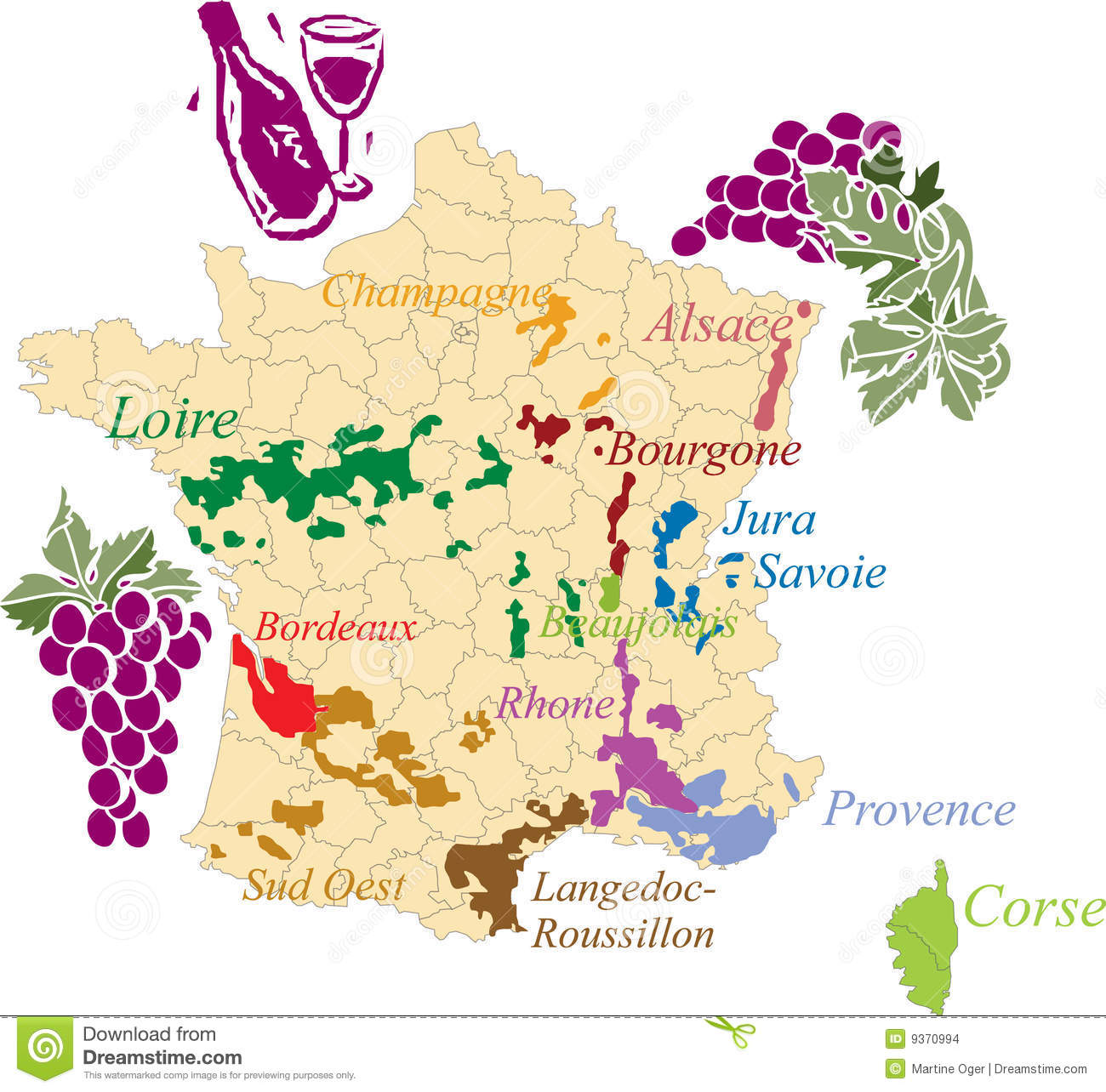Map French Wine. Stock Images.