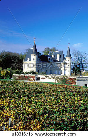 Stock Image of Bordeaux Wine Region, vineyards, France, Chateau.