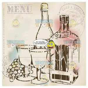 Distressed Sepia Vintage Food Label Of Two Bottles Of Wine Grapes And Two  Wine Glasses With Stamps In Corner And Word Menu Above.