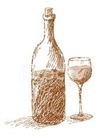 Wine Bottle and Glass Sepia Sketch Stock Vector.
