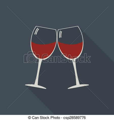 Vectors Illustration of Wine glasses clink glasses icon with long.