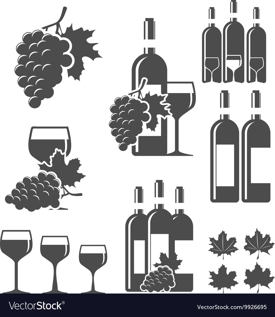 Set of wine signs badges and labels.