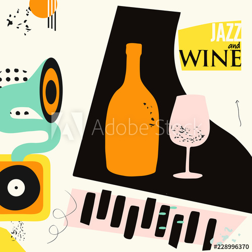 Music and wine colorful background flat vector illustration.